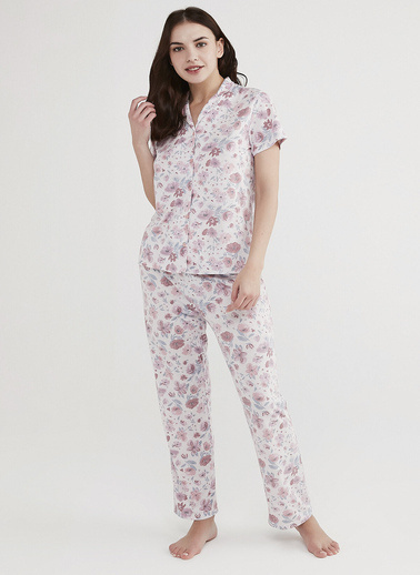 Penti Kadın Açık Lila Lilac Floral Pijama Takım PNU66TOF21IY Lila